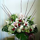 bouquet in a box (around $80 including box)